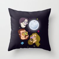 3 DUDE MOON Throw Pillow