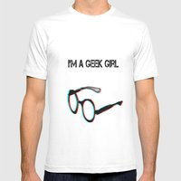 I'm A Geek Girl Mens Fitted Tee White SMALL