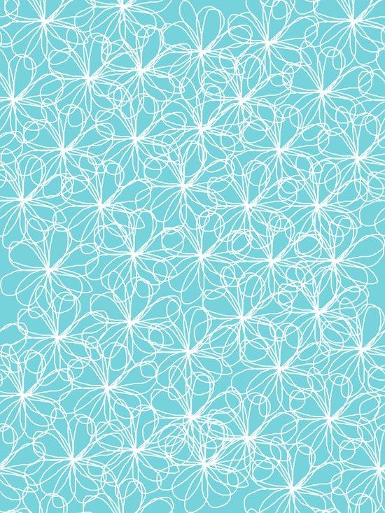Aqua & White Floral Doodles Art Print