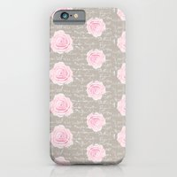 Watercolor roses on Taupe with French script iPhone 6 Slim Case