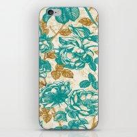 Cyan Roses Toile De Jouy iPhone & iPod Skin