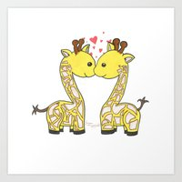 Giraffes In Love Art Print