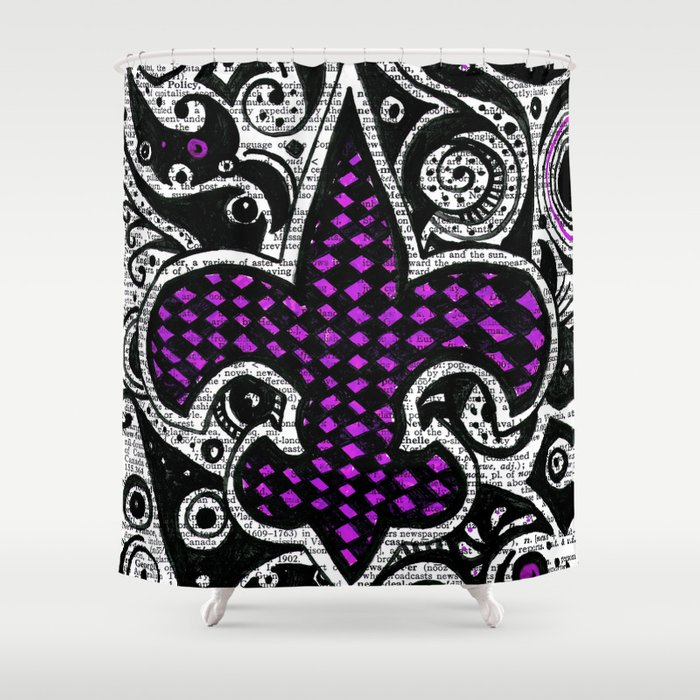 Fleur de lis purple shower curtain by janin wise society6 - Fleur de lis shower curtains ...