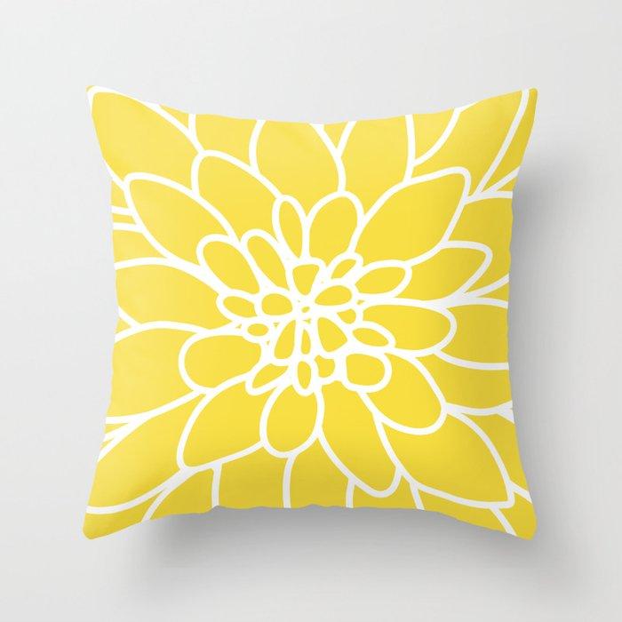 Modern Yellow Pillow : Modern Yellow Dahlia Flower Throw Pillow by AleDan Society6