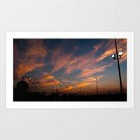 Purple-golden Sunset  Art Print