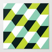 Lime green & turquoise hexagon pattern  Canvas Print