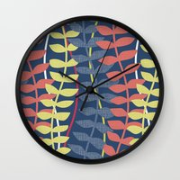 seagrass pattern - blue red yellow Wall Clock