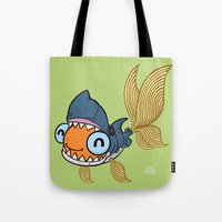 Goldfish in Shark Costume Tote Bag