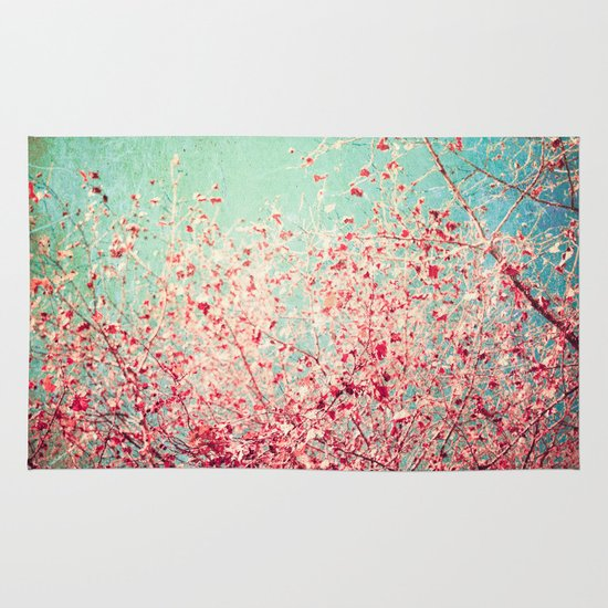 Blue Autumn, Pink leafs on blue, turquoise, green, aqua sky Area & Throw Rug