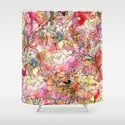 Summer Flowers | Colorful Watercolor Floral Pattern Abstract Sketch Shower Curtain