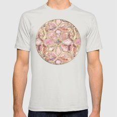 Geometric Gilded Stone Tiles in Blush Pink, Peach and Coral Mens Fitted Tee Silver SMALL