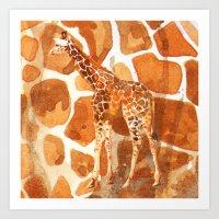 Camouflage giraffe, animal skin, safari art, giraffe, giraffe art, cute animal art, nursery animals Art Print