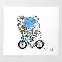 On how bicycle riders utilize team work in certain situations. Art Print