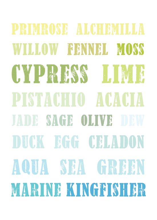 Paint Palette Typography - Blue & Green Art Print