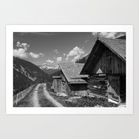 Cabins In Tirol Art Print