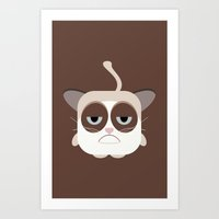 Grumpy Chubby Cat Art Print