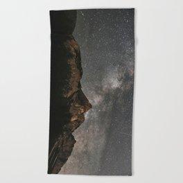 Beach Towel - Milky Way Over Mountains - Landscape Photography - regnumsaturni
