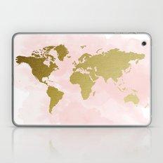 Gold World Map Poster Laptop & iPad Skin