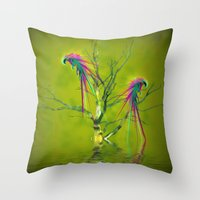 Fantasy Parrots Throw Pillow