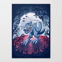 Werewolf Scratching Spooky Fleas Canvas Print