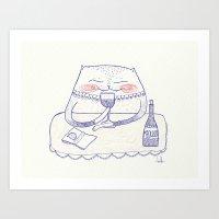 Wine Cat Art Print