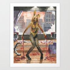 Amelia Talon's Bunny Zombie Pin-up of Horror Art Print