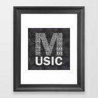 Chalkboard Music Genres Framed Art Print