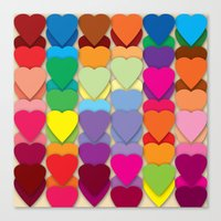 Colored Hearts Canvas Print