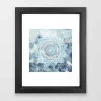 DEEP BLUE MANDALA Framed Art Print