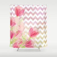 Chevron Tulips Shower Curtain