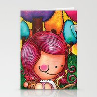 Love Angel - Fun, sweet, unique, creative and very colorful, original, acrylic children illustration Stationery Cards