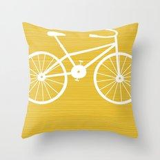 Yellow Bike by Friztin Throw Pillow
