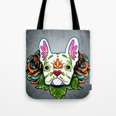 Day of the Dead White French Bulldog Sugar Skull Dog Tote Bag