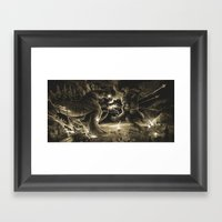 Godzilla Vs Kingkong Tan Framed Art Print