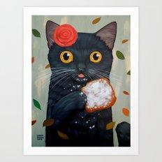 LADY CAT AND BEIGNET Art Print