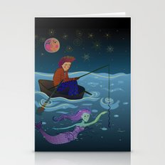 moon, fisherman and mermaid Stationery Cards