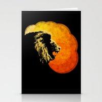 NIGHT PREDATOR : lion silhouette illustration print Stationery Cards
