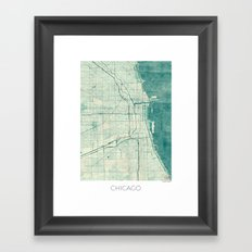 Chicago Map Blue Vintage Framed Art Print