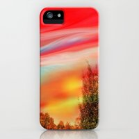 iPhone Cases featuring Sunset in Red and Gold by Jen Art And Design