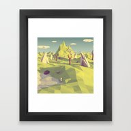Framed Art Print featuring Polygon Landscape by Tom Lee