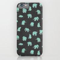 Indian Baby Elephants Black/Mint iPhone 6 Slim Case