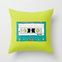 Cassette Tape // Lime Gr… Throw Pillow