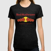 Red Mushroom Energy Boost Womens Fitted Tee Tri-Black SMALL