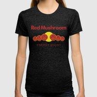 Red Mushroom Energy Boos… Womens Fitted Tee Tri-Black SMALL