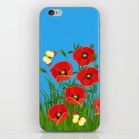 Poppies And Butterflies iPhone & iPod Skin