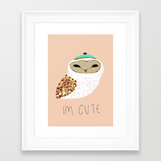 i'm cute owl illustration  Framed Art Print