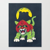 Battle Kitty's Mighty RAWR!  Canvas Print