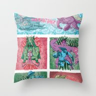 Throw Pillow featuring Superheroes SF by James Burlinson