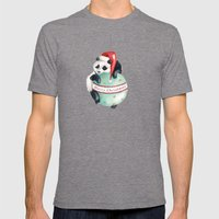 Christmas Panda Mens Fitted Tee Tri-Grey SMALL