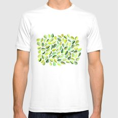 Leaf Green SMALL Mens Fitted Tee White